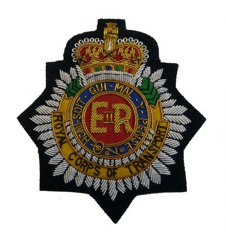 The Royal Corps of Transport blazer wire embroidered badge for the Royal Transport Regiment.